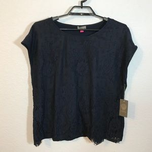 Vince Camuto NWT Sapphire Sheen Classic Navy Top